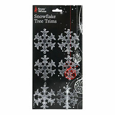 Pack of 6 Clear Plastic Snowflake Christmas Tree Ornament Trims Decoration