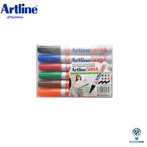 Artline 509A Whiteboard Colour Marker Pen Chisel Tip 2-5mm Dry Erase | 6 Pens