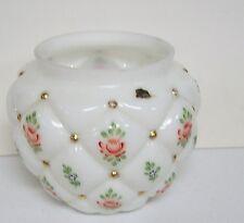 Vintage Fenton Quilted Diamond Charleston ? Painted Roses Vase Bowl Biscuit Base