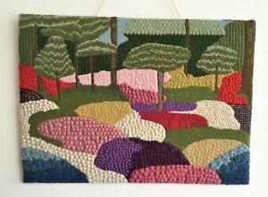 Unique Vintage Embroidery Textile Wall Panel Woodland Landscape Garden Art