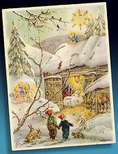 Hermoso Antiguo Adviento alrededor de 1950 Angelito con Kindern Winterwaldkrippe