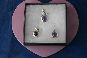 Beautiful 925 Silver Set Of Pendant And Earrings With Amethyst 11.7 Gr.3 Cm.Long