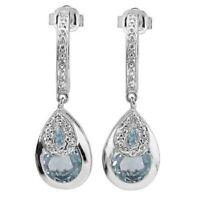 Ohrringe/Ohrstecker Marianne, 925er Silber, 3,16 Kt. echter Blautopas/Diamant