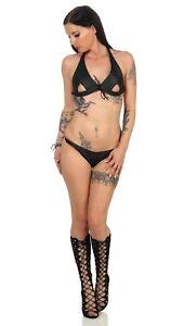 Damen Leder Neckholder BH & String Tanga Set Schwarz Club Mode  Erotik leder-joe