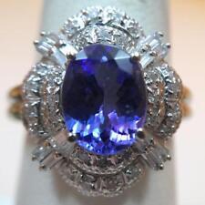 Two Carat Oval Iolite & Diamond Ring 14K White Gold Size 6.5