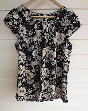 Portmans Women's Blue Beige & Brown Floral Short-Sleeve Top - Size 8