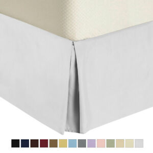 "Split Corner Solid Bed Skirts Cotton Pleated Tailored Dust Ruffle 15"" Drop"