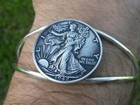 Authentic Walking Liberty Half dollar coin silver plated adjustable cuf bracelet