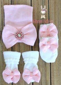 CUTE Newborn Baby Infant Girl Toddler Comfy Bowknot Hospital Cap Beanie Hat SET