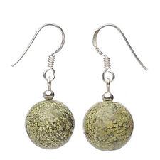 Ohrringe Ohrhänger aus Serpentin & 925 Silber, Schlangenjaspis, grün, Damen