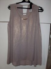 DOROTHY PERKINS LADIES BEIGE GOLD SHIMMER TOP WITH NECKLACE UK SZ 12 NEW