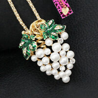 Betsey Johnson Enamel Pearl Crystal Grapes Pendant Chain Necklace/Brooch Pin