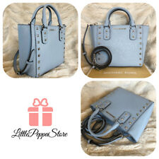 NWT MICHAEL KORS THE NEW SANDRINE LEATHER STUD SMALL CROSSBODY BAG IN PALE BLUE