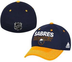Buffalo Sabres NHL Adidas Navy Blue Two Tone Locker Room Hat Cap Men's Flex S/M