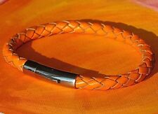 Mens/ladies 6mm Orange braided leather & stainless steel bracelet - Lyme Bay Art