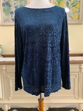 Dialogue QVC Womens Top Size M Medium Textured Blouse Black Semi Sheer Paisley