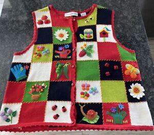 Marisa Christina Red Gardening Sweater Vest Sz Medium Buttons Frog Ladybug Bees+