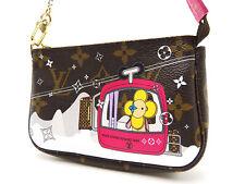 LOUIS VUITTON Mini Pochette Accessoires Pouch Pink Vivienne Monogram M68490 1303
