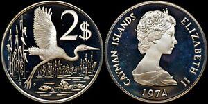 CAYMAN ISLANDS $2 1974 SILVER (GEM PROOF) *PREMIUM QUALITY*