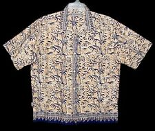 Sz L Hawaiian Aloha Shirt BILLABONG Tropical Bamboo Border Print Tan/Navy Cotton