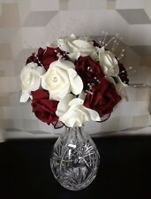 WEDDING FLOWERS BRIDES IVORY WHITE /BURGUNDY FOAM ROSE CRYSTAL BEAD  BOUQUET