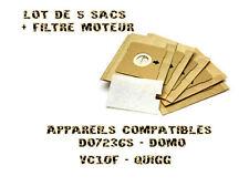 lot de 5 sacs avec filtre moteur pour DO7236S - DOMO - VC10F - QUIGG