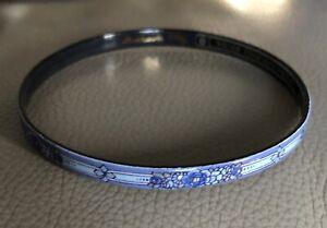 Signed Michaela Frey Floral Enamel Bangle Bracelet Made In Austria