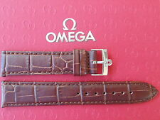 NOS 18MM BROWN CROCO WATCH BAND WATCHBAND BRACELET STRAP W/ SS BUCKLE FIT OMEGA