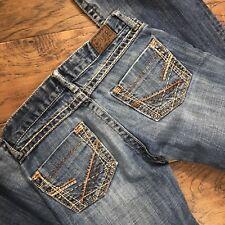 BKE Denim Jeans Stella Slim Boot Medium Wash Thick Stitch  25x33.5 Destroyed