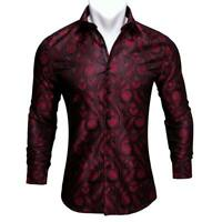 USA Mens Casual Button-Down Shirts Long Sleeve Black Burgundy Paisley Shirt Tops