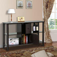 Espresso Wood Console Sofa Table with Storage