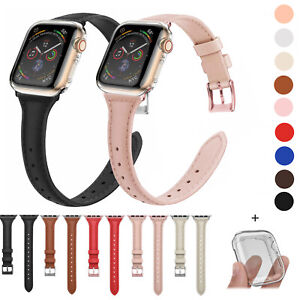 Slim Leather Band + Full Body Case for Apple Watch Series 5 4 3 2 1 iWatch Strap