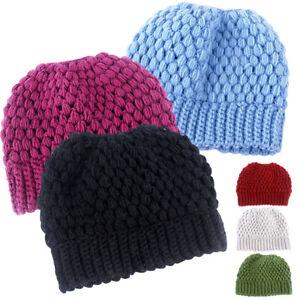 Women Cute Winter Warm Hats Beanie Ponytail Hat Bun Knitted Cap Skull Stretchy