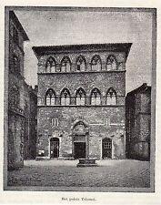 Antique print Palazzo Tolomei, Siena 1893 stampa antica Italia