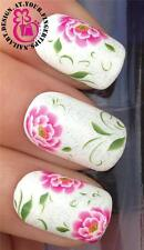 NAIL ART WATER TRANSFERS STICKERS DECALS SET LARGE WILD ROSES FLOWERS #192