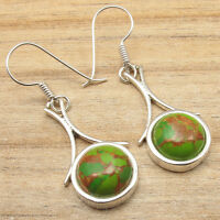 Fancy GREEN COPPER TURQUOISE Earrings ! Silver Plated Jewelry HANDMADE