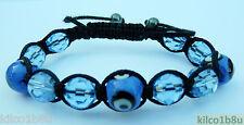 """Evil Eye Glass Beads Bracelet/Anklet pick color Adjust 7""""-10"""" Hematite, No Metal"""
