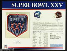 SUPER BOWL 25 ~ GIANTS vs BILLS ~ Willabee & Ward OFFICIAL NFL SB XXV PATCH CARD