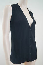 CHANEL Black Cotton Blend Ribbed Sleeveless V Neck Tank Cardigan Top Sz44; UK12