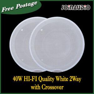 80/110W HIFI 2-Way Ceiling Speaker White Grill Edgeless Crossover 2pcs as 1set