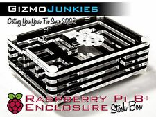 Raspberry Pi 2, 2B & B+ Plus Sliced Acrylic Case Trans Enclosure Black/Clear
