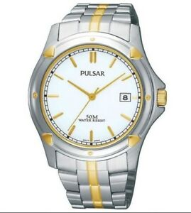 Seiko Pulsar Watch * PXH848X Date Dial Two Tone Gold and Silver Steel COD PayPal