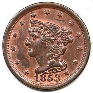 1853 Braided Hair Half Cent Coin 1/2c