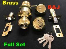 Entrance Lock Set Dead Bolt Door Handle Keyed alike Entry House Polished Brass