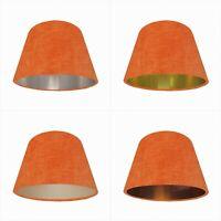 Orange Velvet Empire Lampshade Tapered Lightshade Metallic Conical