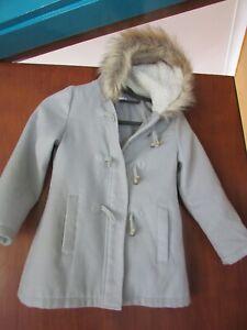 Girls Target Jacket - Light Grey with faux fur hood - size 8