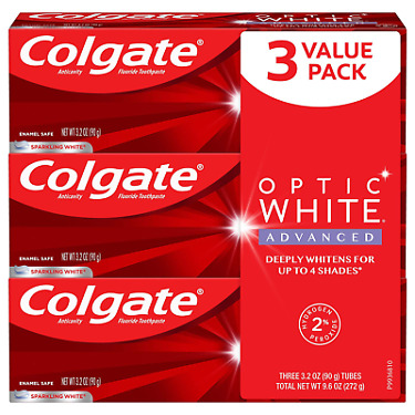 Colgate Optic White Advanced Teeth Whitening Toothpaste with Fluoride 2 Hydrog