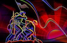 Incorniciato stampa-iconico Neon Stile l'innalzamento della bandiera americana a DI IWO JIMA (WW2)
