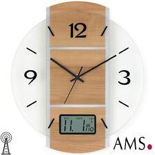 AMS 5915 Radio Reloj de pared,digitales Pantalla Fecha,Caja Haya / color
