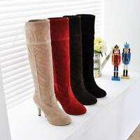 Suede Platform Ladies Womens Lace Up Knee High Heel Boot Roma Shoes All US Sz
